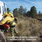 Imagen de un ejercicio de entrenamiento de bomberos forestales de INFOCA.